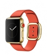 38mm 18-Karat Yellow Gold Case with Bright Red Modern Buckle