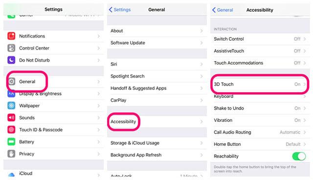 Nếu như iPhone 6S của bạn chưa được kích hoạt tính năng này thì bạn hãy vào  phần Cài đặt -> Cài đặt chung -> Chọn Khả năng tiếp cận -> 3D Touch -> Chọn  Bật.